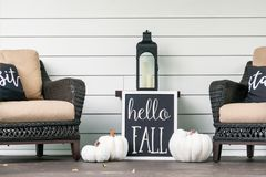 Free Stylish Fall Porch Decor In Black And White Royalty Free Stock Photo - 159107445