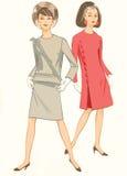 Stylish Fashion. 2 vintage fashion silhouettes stock illustration