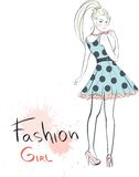 Stylish fashion beauty girl. Colorful  illustration Royalty Free Stock Photography