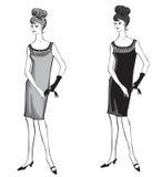 Stylish fashion dressed girl (1950s 1960s style Royalty Free Stock Photography