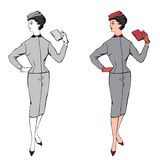 Stylish fashion dressed girl (1950s 1960s style Royalty Free Stock Photos