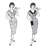 Stylish fashion dressed girl (1950s 1960s style. ): Retro fashion party. vintage fashion silhouettes from 60s-70s Stock Illustration