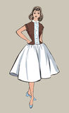 Stylish fashion dressed girl (1950s 1960s style. ): Retro fashion party. vintage fashion silhouettes from 60s-70s royalty free illustration