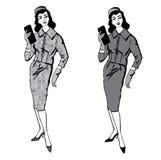 Stylish fashion dressed girl (1950s 1960s style Stock Images