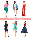 Stylish fashion girls with accessories. Fashion women's clothes. Beautiful girls set. Royalty Free Stock Images