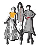 Stylish fashion models. Fashion girl Sketch. Fashion illustration. Stylish fashion models. Fashion girls set. Sketch. Girls in a dress and coat vector illustration