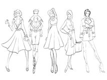 Stylish fashion models. Fashion girl Sketch. Stylish fashion models. Pretty young girls. Fashion girls Sketch Stock Photos