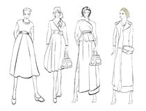Stylish fashion models. Fashionable girls Sketch. Set of fashion girls on a white background Stock Photos