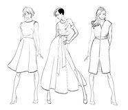 Stylish fashion models. Fashionable girls Sketch. Set of fashion girls on a white background Stock Image