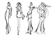 Stylish fashion models. Fashion girls Sketch. Stylish fashion models. Pretty young girls. Fashion girls Sketch Stock Photo