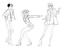 Stylish fashion models. Pretty young girls. Fashion girls. Sketch Royalty Free Stock Photos