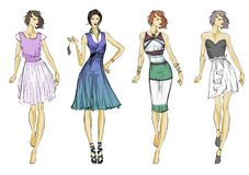 Stylish fashion models. Pretty young girls. Fashion girls. Sketch Royalty Free Stock Photo