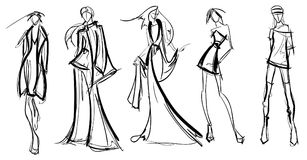 Stylish fashion models. Pretty young girls. Fashion girls Sketch Royalty Free Stock Photo