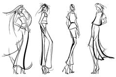 Fashion girls Sketch. Stylish fashion models. Pretty young girls. Fashion girls Sketch Royalty Free Stock Photography