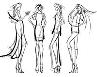 Fashion girls Sketch. Stylish fashion models. Pretty young girls. Fashion girls Sketch Stock Photography