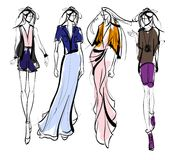 Stylish fashion models. Pretty young girls. Fashion girls Sketch Royalty Free Stock Photography