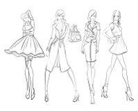 Pretty young girls. Fashion girls Sketch. Stylish fashion models. Pretty young girls. Fashion girls Sketch Stock Photo