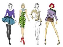 Stylish fashion models. Pretty young girls. Fashion girls Sketch Royalty Free Stock Photos