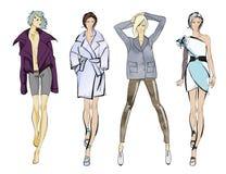Stylish fashion models. Pretty young girls. Fashion girls Sketch Royalty Free Stock Photo