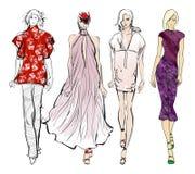 Stylish fashion models. Pretty young girls. Fashion girls. Sketch Stock Photo
