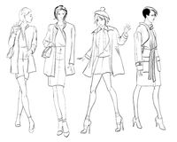 Stylish fashion models. Pretty young girls. Fashion girls. Sketch Stock Photo