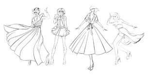 Stylish fashion models. Pretty young girls. Fashion girls. Sketch Royalty Free Stock Photography