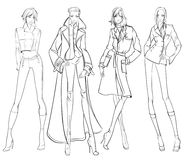 Stylish fashion models. Pretty young girls. Fashion girls Sketch Royalty Free Stock Images