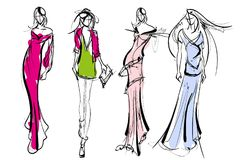 Stylish fashion models. Pretty young girls. Fashion girls Sketch Stock Photos