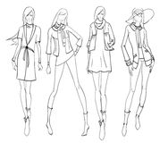 Stylish fashion models. Pretty young girls. Fashion girls Sketch Stock Image
