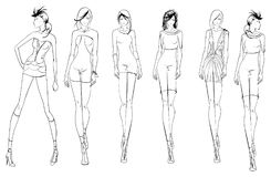 Pretty young girls. Fashion girls Sketch. Stylish fashion models. Pretty young girls. Vector Fashion girls Sketch Stock Photo
