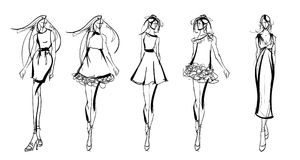 Stylish fashion models. Pretty young girls. Fashion girls Sketch Stock Images