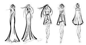 Stylish fashion models. Pretty young girls. Fashion girls Sketch Royalty Free Stock Photos