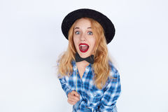 Stylish fashion portrait of surprised trendy young woman Stock Images