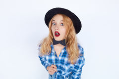 Stylish fashion portrait of surprised trendy young woman Royalty Free Stock Images