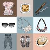 Stylish fashion set of woman's clothes, accessories and cosmetic Stock Image