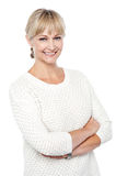 Stylish fashion woman in knitted clothing stock image