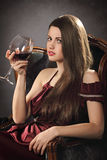 Stylish fashion woman with wineglass Stock Photos