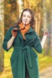 Stylish and Fashionable Caucasian Brunette Female Model with Sun royalty free stock photo