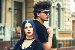 Stylish fashionable young couple in the city. Young people in the city Stock Photo
