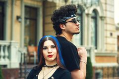 Stylish fashionable young couple in the city. Young people in the city Stock Image