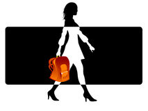 Stylish female with bag. On abstract background vector illustration