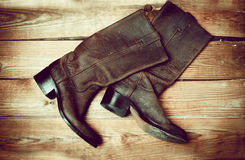 Stylish female brown boots Stock Images