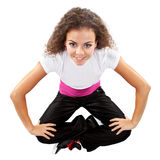 Stylish female dancer sitting Stock Photos