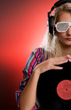 Stylish female DJ Stock Image