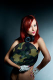 Stylish female dj with vinyl record Royalty Free Stock Photo