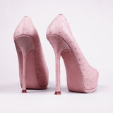 Stylish female pink shoes Royalty Free Stock Photos