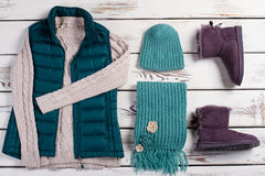 Stylish female set of winter clothes. Stock Photos