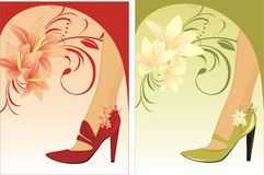 Stylish female shoes. Compositions for card. Stylish female shoes. Two compositions for card. Illustration Stock Images