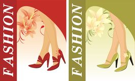 Stylish female shoes. Two compositions for card Royalty Free Stock Images