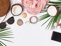 Stylish feminine accessories for summer vacation. Top view stock images